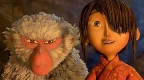 Monkey (voiced by Charlize Theron), left, helps Kubo