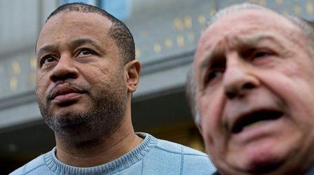 New York State Assemblyman Eric Stevenson, left, leaves