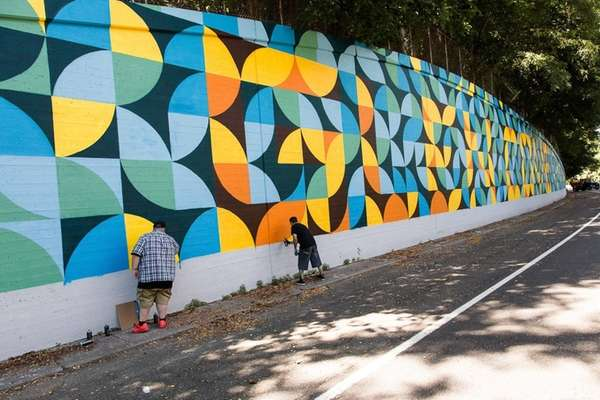 Artists put the final touches on a new