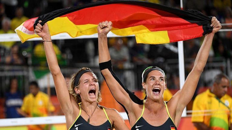 Laura Ludwig and Kira Walkenhorst of Germany celebrate