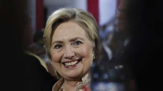Democratic presidential candidate Hillary Clinton poses for a