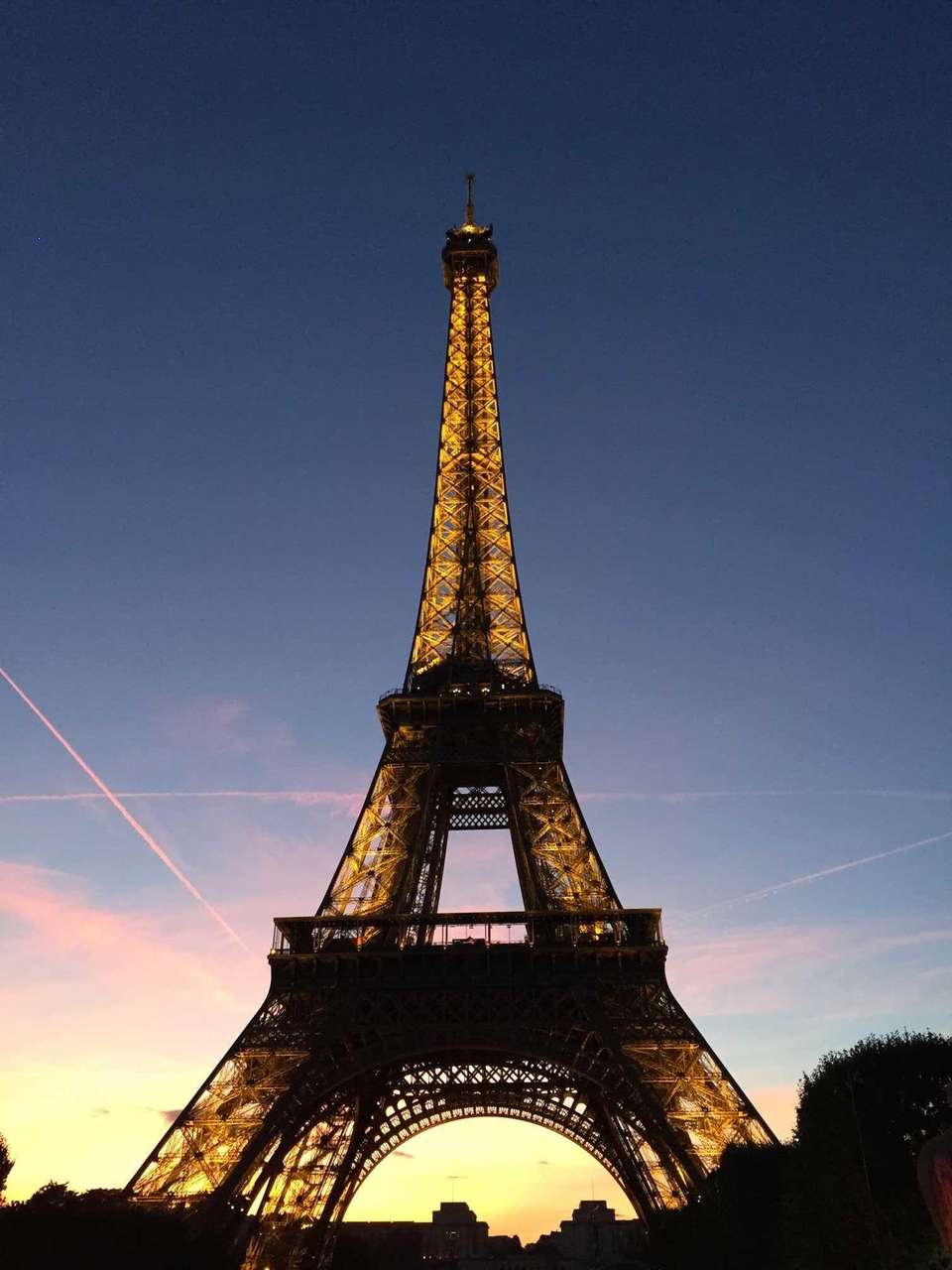 Sunset at the Eiffel Tower on August 5th,