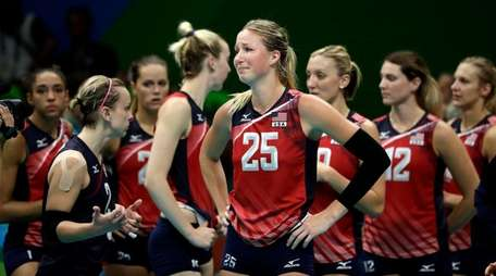 The United States' Karsta Lowe (25) and her