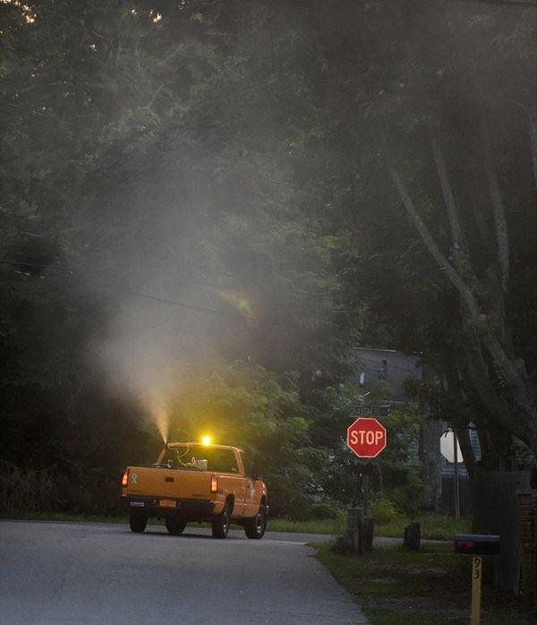 Suffolk County public works department ground sprays for