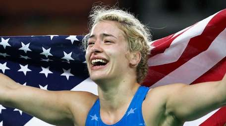 The United States' Helen Louise Maroulis celebrates after