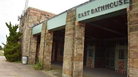 Exterior of the shuttered East Bathhouse at Jones