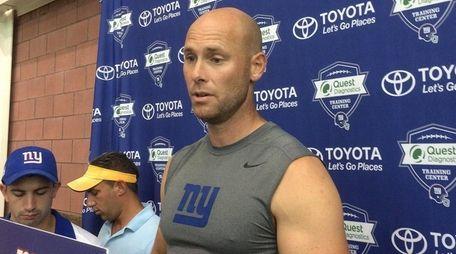 Giants kicker Josh Brown speaks with reporters at