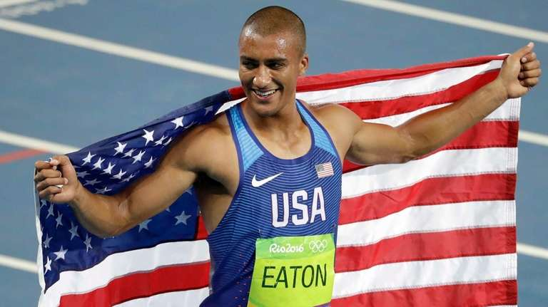 United States' Ashton Eaton celebrates winning the gold
