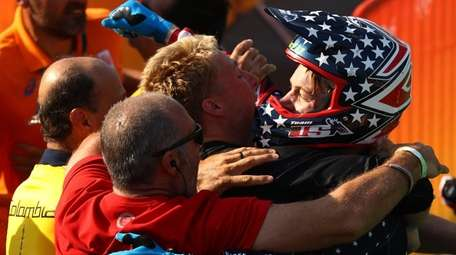 Connor Fields of the United States celebrates after