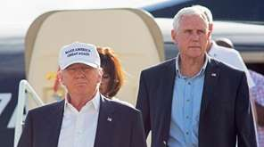 Republican presidential candidate Donald Trump, followed by his