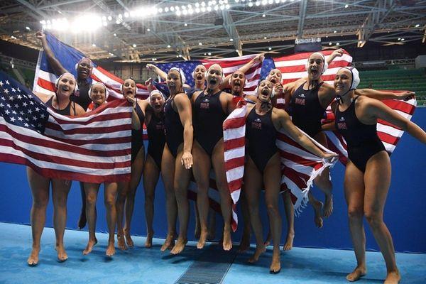 The United States celebrates winning the Women's Water