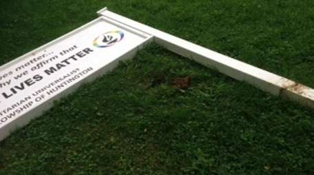 A sign that had stood on the lawn