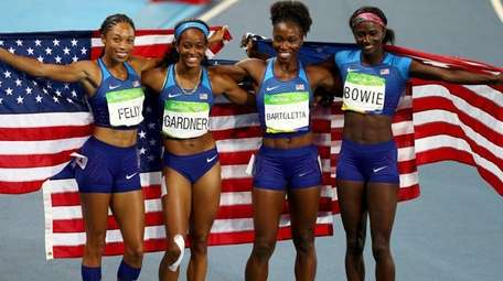 English Gardner, Allyson Felix, Tianna Bartoletta and Tori