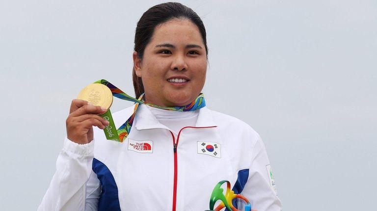 Gold medalist, Inbee Park of Korea poses on