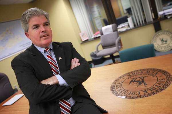 Suffolk County Executive Steve Bellone speaks at his