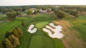 A scenic view of the 18th hole the