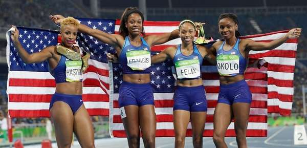 The United States team from left, Natasha Hastings,