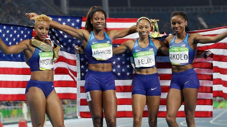 The United States team from left, Natasha Hastings,
