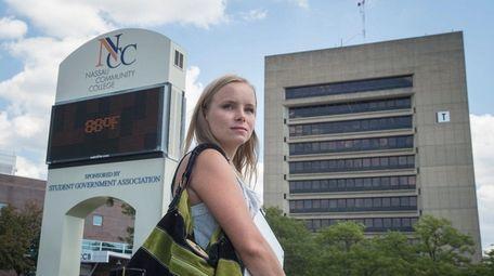 Nassau Community College student Jessica Abrams, 27, prepares