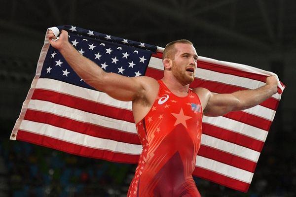 Kyle Frederick Snyder of the United States celebrates