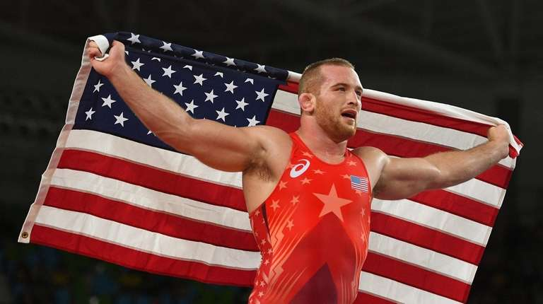 Kyle Frederick Snyder of the United States celebrates