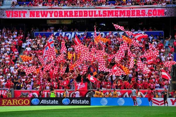The New York Red Bulls supporters cheer on