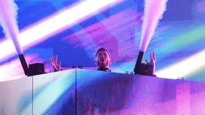 Calvin Harris on stage for the 2016 Billboard