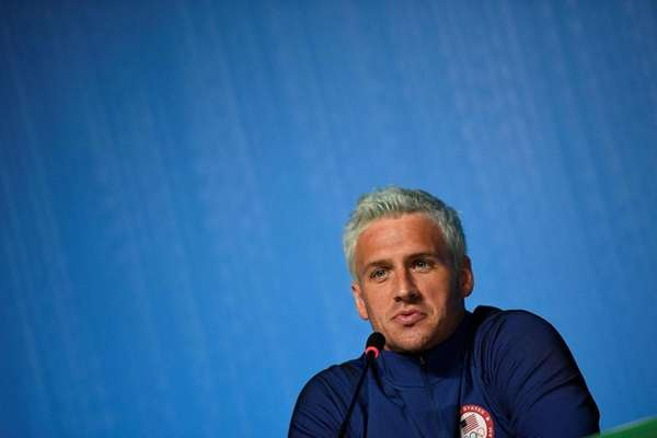 US swimmer Ryan Lochte holding a press conference