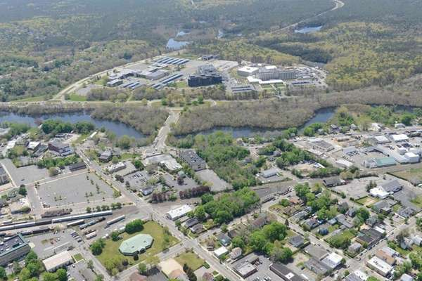 An aerial view of Riverside seen from downtown