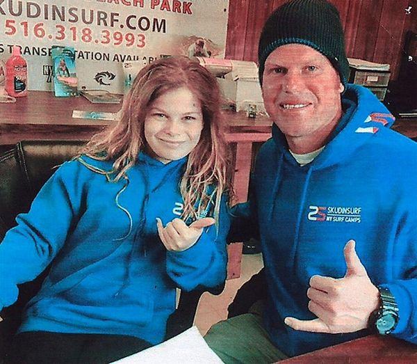Kidsday reporter Pearl Guilbert with Cliff Skudin.