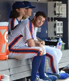 Mets pitchers Steven Matz, Jacob deGrom and Noah