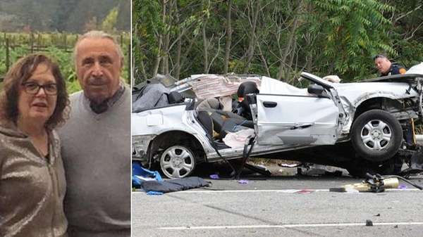 helen and isidore adelson of westhampton in an undated facebook photo left and suffolk police and firefighters at the scene of a multivehicle crash on the