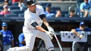 New York Yankees designated hitter Gary Sanchez singles
