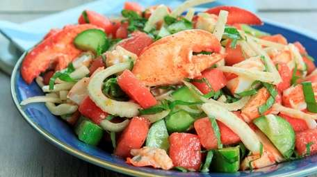 Cooked fresh lobster, watermelon, fennel and cucumber tossed