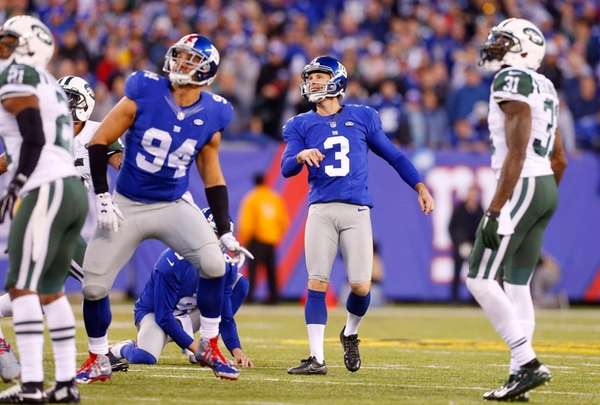 Josh Brown of the New York Giants watches