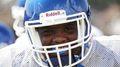 Latrell Hollis during football practice at Roosevelt High