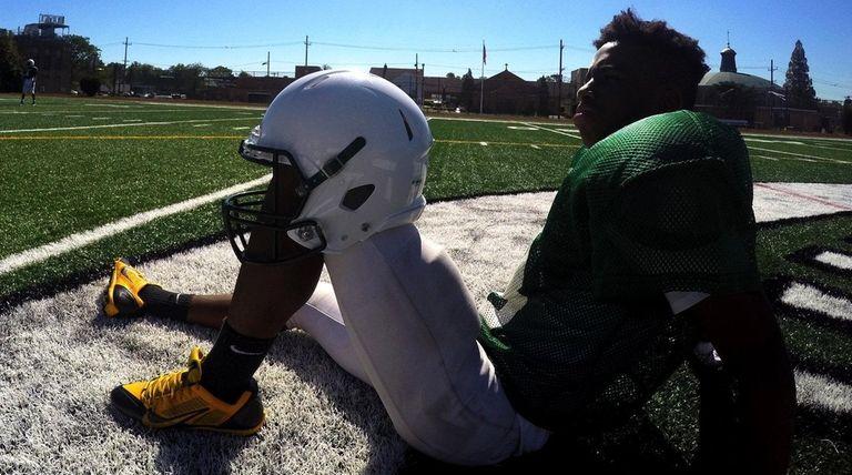 An Elmont High School football player during a