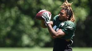 New York Jets defensive back Buster Skrine participates