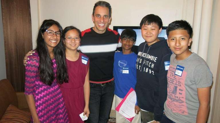 Comedian Sebastian Maniscalco with Kidsday reporters, from left,