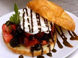 The drunken-berry croissant is one of the desserts