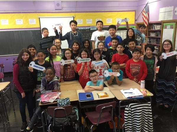 Karen Murillo's class from MS 74 shows off