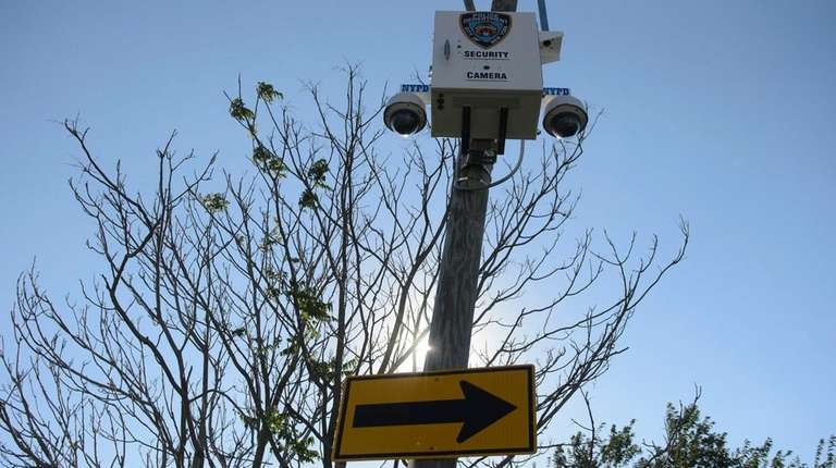 A recently installed NYPD security camera is seen