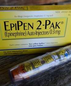 An EpiPen epinephrine auto-injector, a Mylan product, is