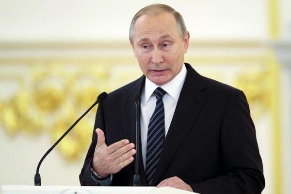 Russian President Vladimir Putin at an awards ceremony