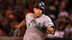 Gary Sanchez of the New York Yankees arrives