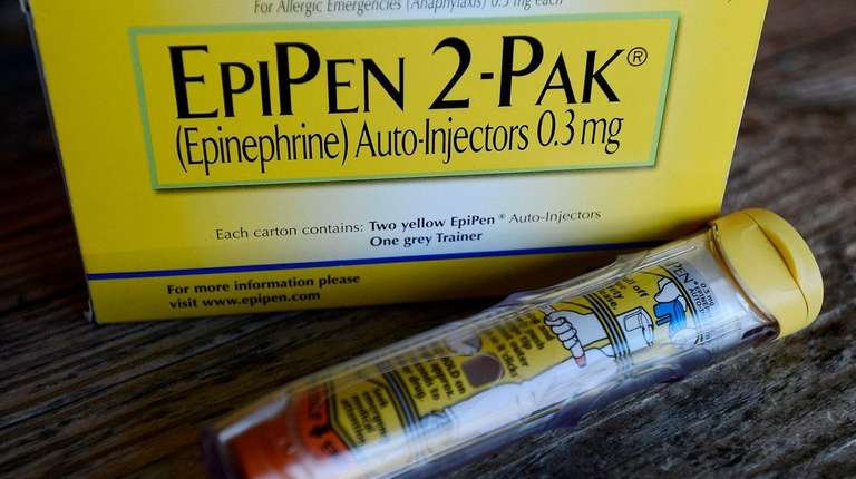 An EpiPen epinephrine auto-injector, a Mylan product, in