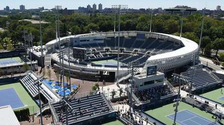 A view of the Grandstand from Arthur Ashe