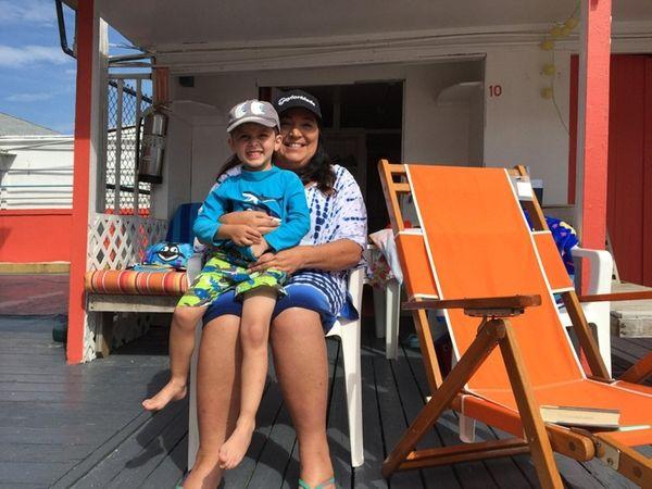 Gaile Taubenfeld and her grandson Eliezer enjoy Atlantic