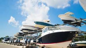 Valet boat racks at Strong's Marine in Mattituck