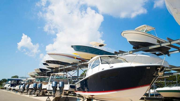 Valet boat racks at Strong's Marine in Mattituck